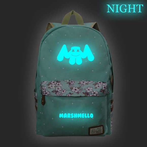 Marshmello Backpack Luminous School Backpack Bookbags For Youth、