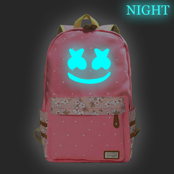 Marshmello Youth Backpack  Luminous School Backpack Bookbags