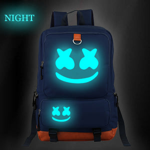 Marshmello Luminous  Version Backpack Smile Face School Backpack Bookbags