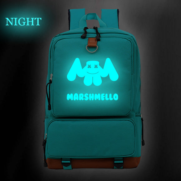 Youth Luminous Backpack DJ Marshmello Printed School Backpack Bookbags