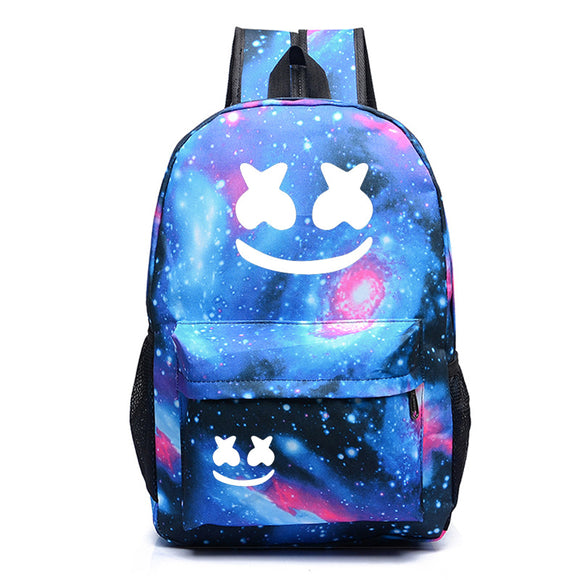 Galaxy Color Marshmello Youth Teens School Backpack Bookbags