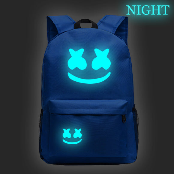 Youth DJ Marshmello Print Backpack Luminous School Backpack Bookbags