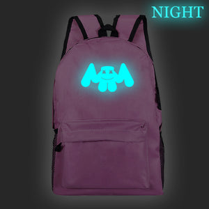 Marshmello Backpack Luminous Pattern School Backpack Bookbags For Youth Kids Adults