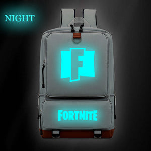 Fortnite Glow In The Dark F Print Backpack Students Bookbag  Big Capacity Rucksack