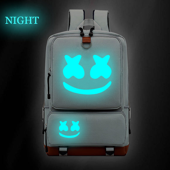 Smile Face Printed Marshmello Backpack Luminous School Backpack Bookbags