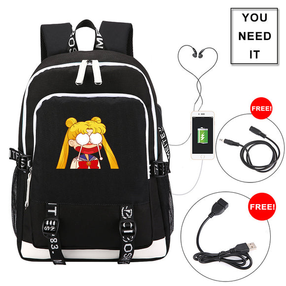 Anime Sailor Moon Students Backpack  Teenagers Girls Bookbag With USB Charging Port