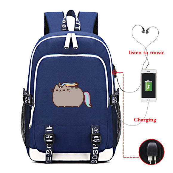 Pusheen Cat School Backpack Youth Backack Big Capacity Rucksuck With USB Charging Port