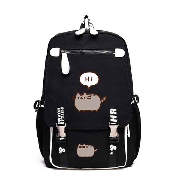 Pusheen Cat Polyester Backpack School Backack Bookbags Big Capacity Rucksuck