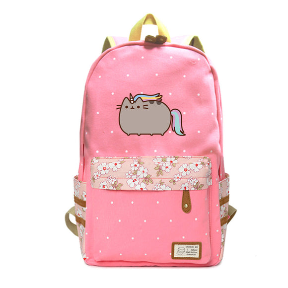 Pusheen Cat Girls Cat Print Backpack Flower Print Rucksacks For Teenagers