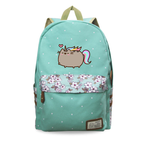 Pusheen Cat Girls Backpack Flower Print Rucksacks For Youth