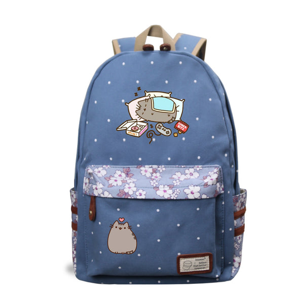 Pusheen Cat Girls Backpack Bookbags Flower Print Rucksacks For Teenagers