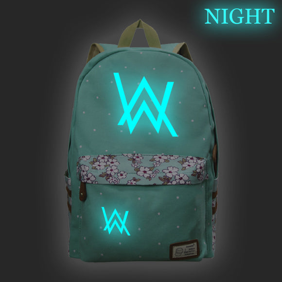 Alan Walker Teens Fashion School Backpack Book Bag Glow In The Dark