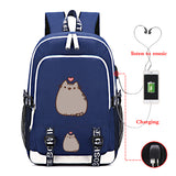 Pusheen Cat School Backpack Youth Polyester Backack Big Capacity Rucksuck With USB Charging Port