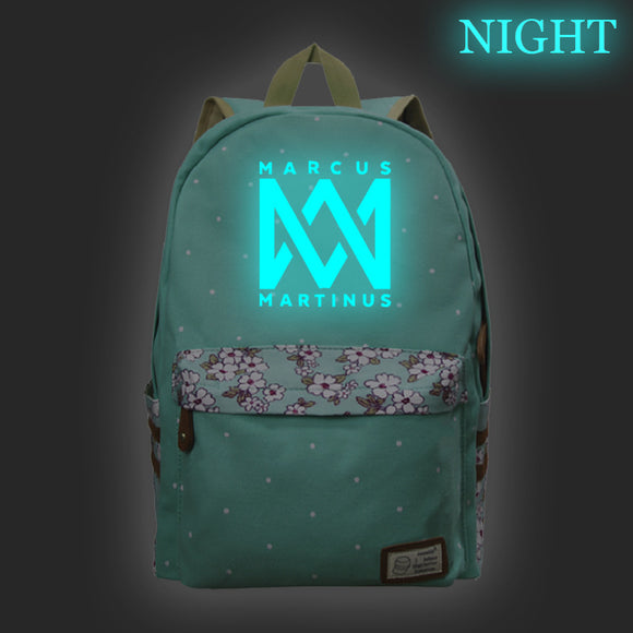 Marcus And Martinus Youth Fashion Canvas Backpack School Backpack Glow In The Dark