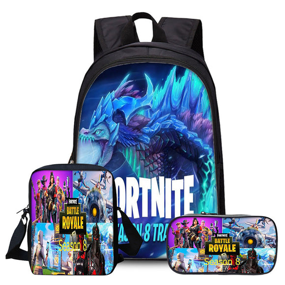 Fortnite 3D Print Full Print Backpack School Bookbag With Lunch Bag Pencial Case