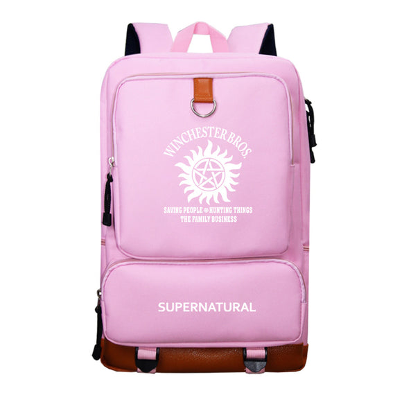 Supernatural Polyester Backpack Bookbags For Students Unisex Big Capacity Rucksuck
