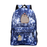 Pusheen Cat / Neko Atsume Polyester Backpack For Teenagers
