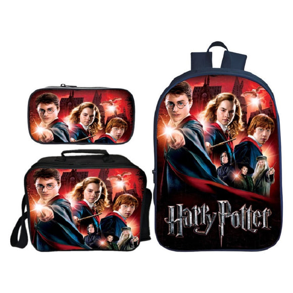 Harry Potter Students Backpack Bookbag With Lunch Box and Pencil Case Set