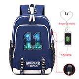 Stranger Things Big Capacity Backpack Travel Bag With USB Charge Port