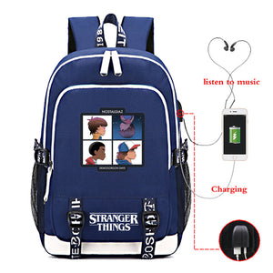 Stranger Things Big Capacity Youth School Backpack Travel Bag With USB Charge Port