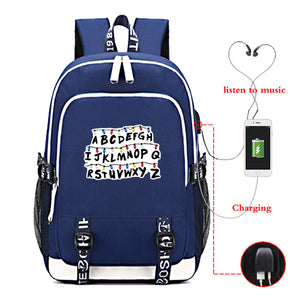 Youth Stranger Things  School Backpack Travel Bag With USB Charge Port
