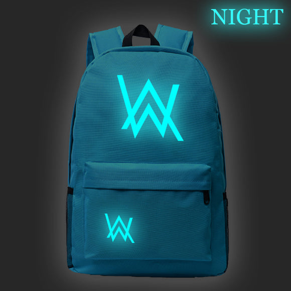 Alan Walker Youth Fashion School Backpack Glow In The Dark Backpack