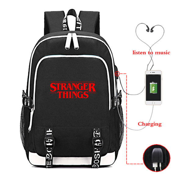 Stranger Things Youth Teens School Backpack Travel Bag With USB Charge Port
