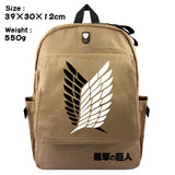 Attack on Titan Shingeki no Kyojin Canvas School Backpack Youth Daybag