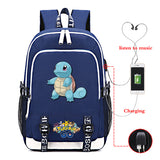 Pokemon Go Students Backpack Youth Teens School Bags With USB Charging Port