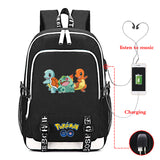 Pokemon Go Students Backpack Bookbags Youth Teens School Bags With USB Charging Port