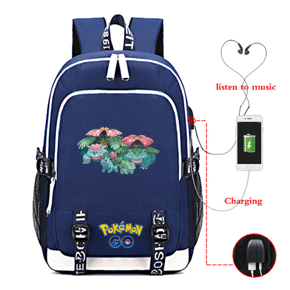 Pokemon Go Students Oxford Backpack Bookbags Youth Teens School Bags With USB Charging Port