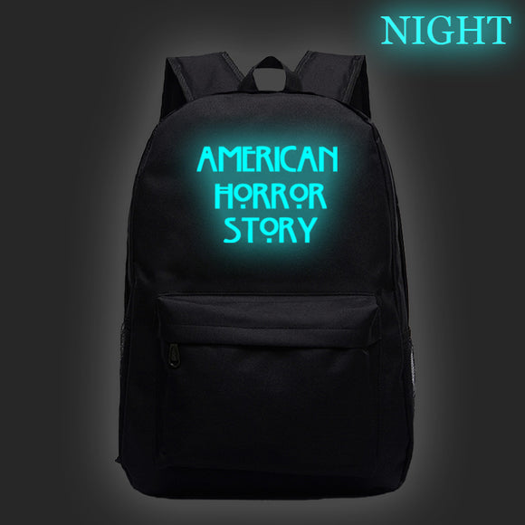 American Horror Story  Backpack Kids Teens Day Bag Bookbag Glow In Dark