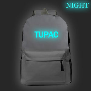 2PAC Tupac Shakur  Hip Hop Fans Teens Backpack Glow In The Dark