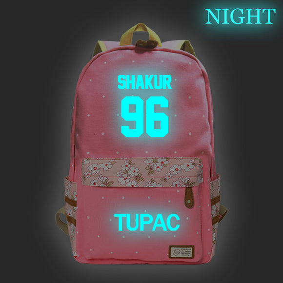 2PAC Tupac Shakur Youth Fashion Hip Hop Backpack Students School Backpack Glow In The Dark