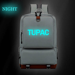 2PAC Tupac Shakur  Hip Hop Fans Backpack Big Capacity Travel Bag Glow In The Dark