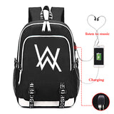 Alan Walker Youth Fashion Canvas Backpack With USB Charger Port