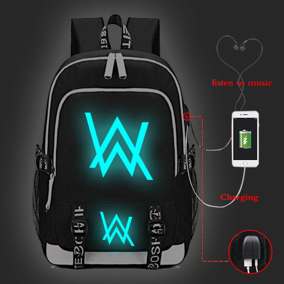 Alan Walker Youth Fashion Canvas Backpack With USB Charger Port Glow In The Dark
