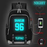 2PAC Tupac Shakur Backpack Glow In The Dark For Youth Students