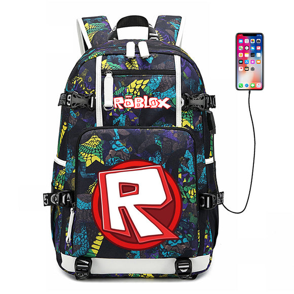 Roblox Big Capacity Cool School Backpack Bookbag With USB Charging Port