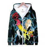 One Punch Man 3D Print Zipper Jacket Hoodies Youth Adults Sweatshirt
