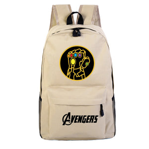 Marvel Youth Thanos Gloves Print Backpack Canvas School Backpack Bookbags