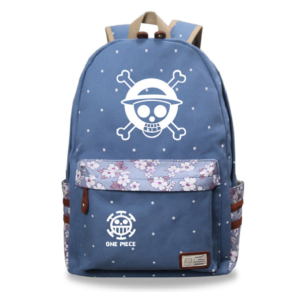 Anime ONE Piece Students Backpack Youth Bookbag With Flower Print