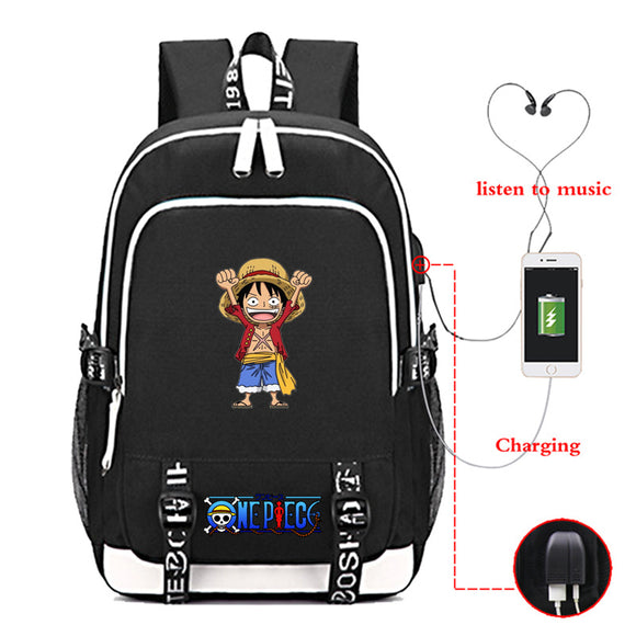Anime ONE Piece Backpack School Bag Bookbags With USB Charge Port