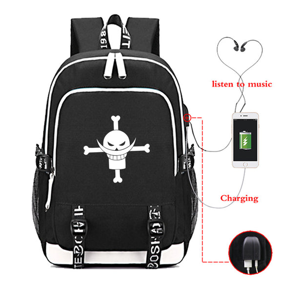 Anime ONE Piece Backpack School Bag With USB Charge Port