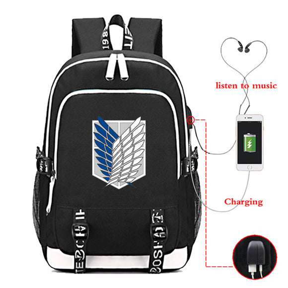 Attack on Titan Shingeki no Kyojin Big Capacity Rucksack School Backpack  With USB Charging Port