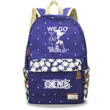 Youth Anime ONE Piece Students Backpack Youth Bookbag With Flower Print