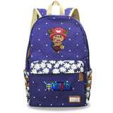 Youth Anime ONE Piece Students Canvas Backpack Youth Bookbag With Flower Print