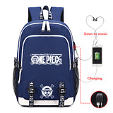 Anime ONE Piece Polyester Backpack School Bag Bookbags With USB Charge Port