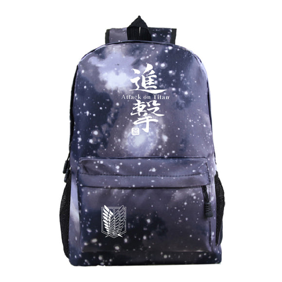 Attack on Titan Shingeki no Kyojin Galaxy Color Printed School Backpack