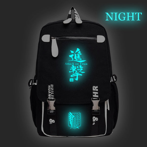 Attack on Titan Shingeki no Kyojin Youth Rucksack Backpack With USB Charging Port Glow In Dark